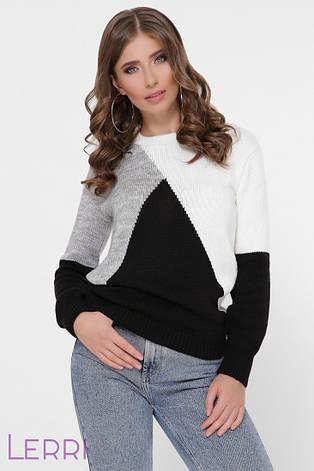 Зимовий жіночий в'язаний светр довгий рукав колір молоко/чорний/темно-сірий, фото 2
