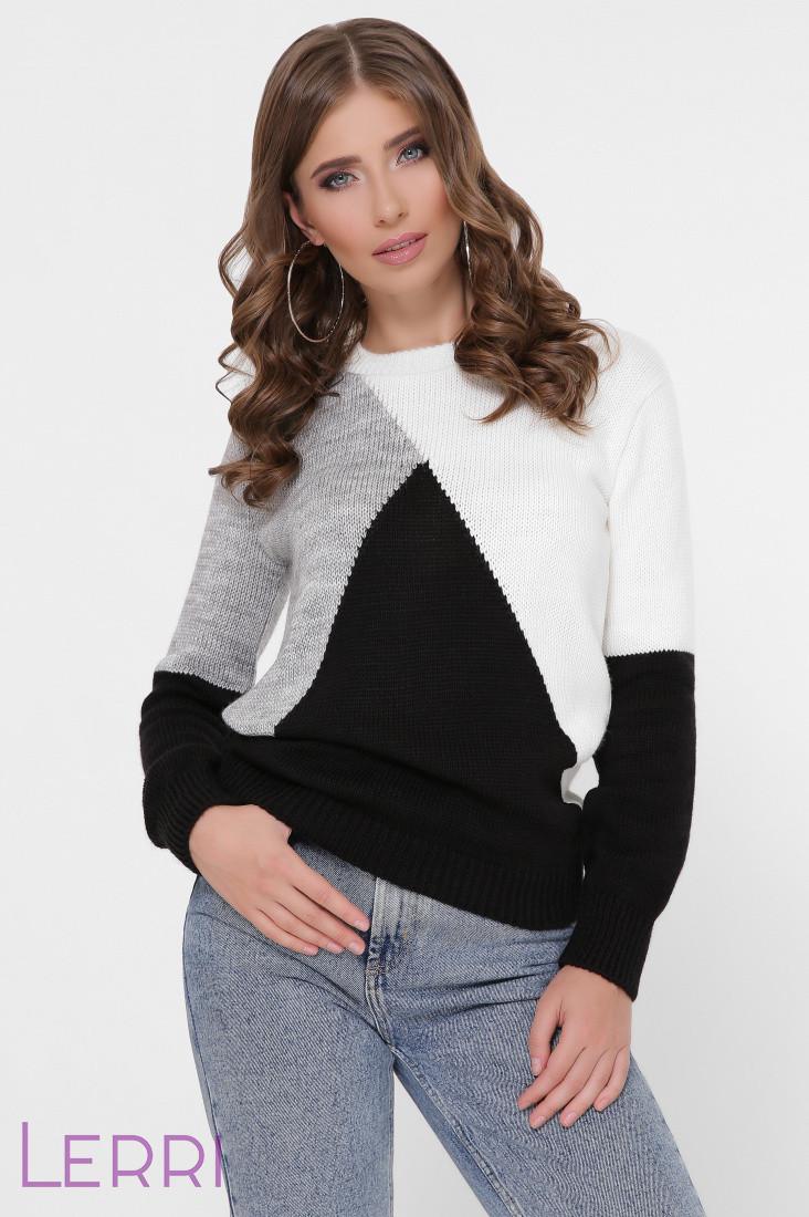 Зимовий жіночий в'язаний светр довгий рукав колір молоко/чорний/темно-сірий