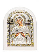 Икона Божьей Матери Семистрельная AGIO SILVER (Греция) Серебряная с позолотой в белом цвете 175 х 225 мм, фото 1