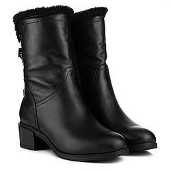 Полусапоги женские FOLETTI (черные, кожаные, зимние, удобные, теплые)