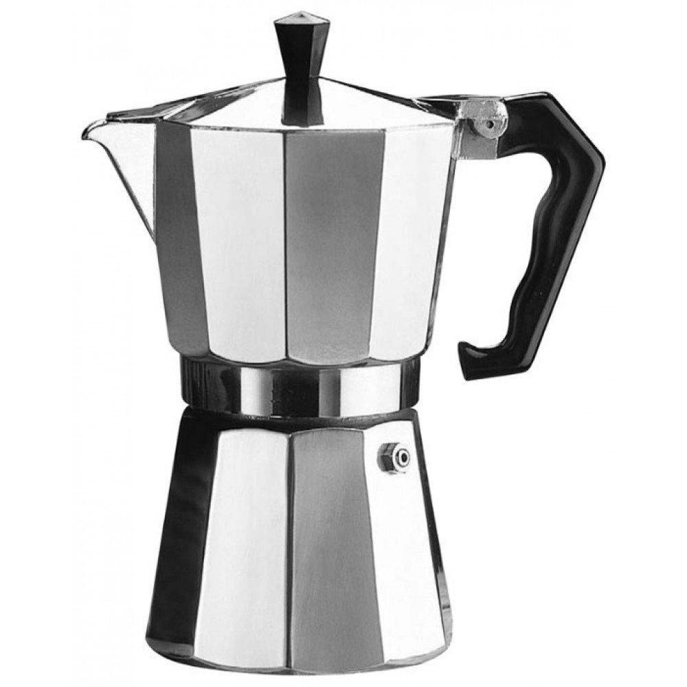 Гейзерная кофеварка 6 чашек из алюминия, кофе А Плюс