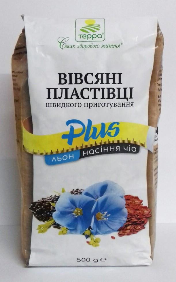 """Хлопья овсяные лен+семена чиа 0,5 кг """"Терра"""""""