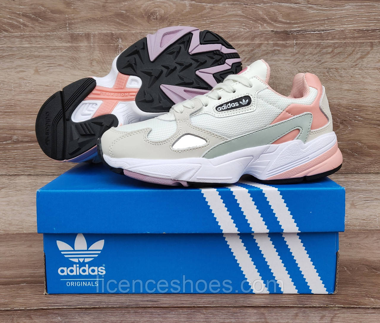 Жіночі кросівки Adidas Falcon W (WHITE TINT / RAW WHITE / TRACE PINK) EE4149