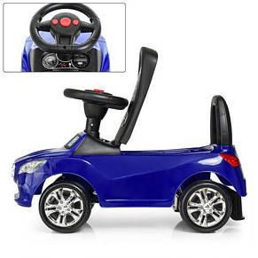 Каталка-толокар bambi 3147 c резиновыми колесами синий USB, фото 2