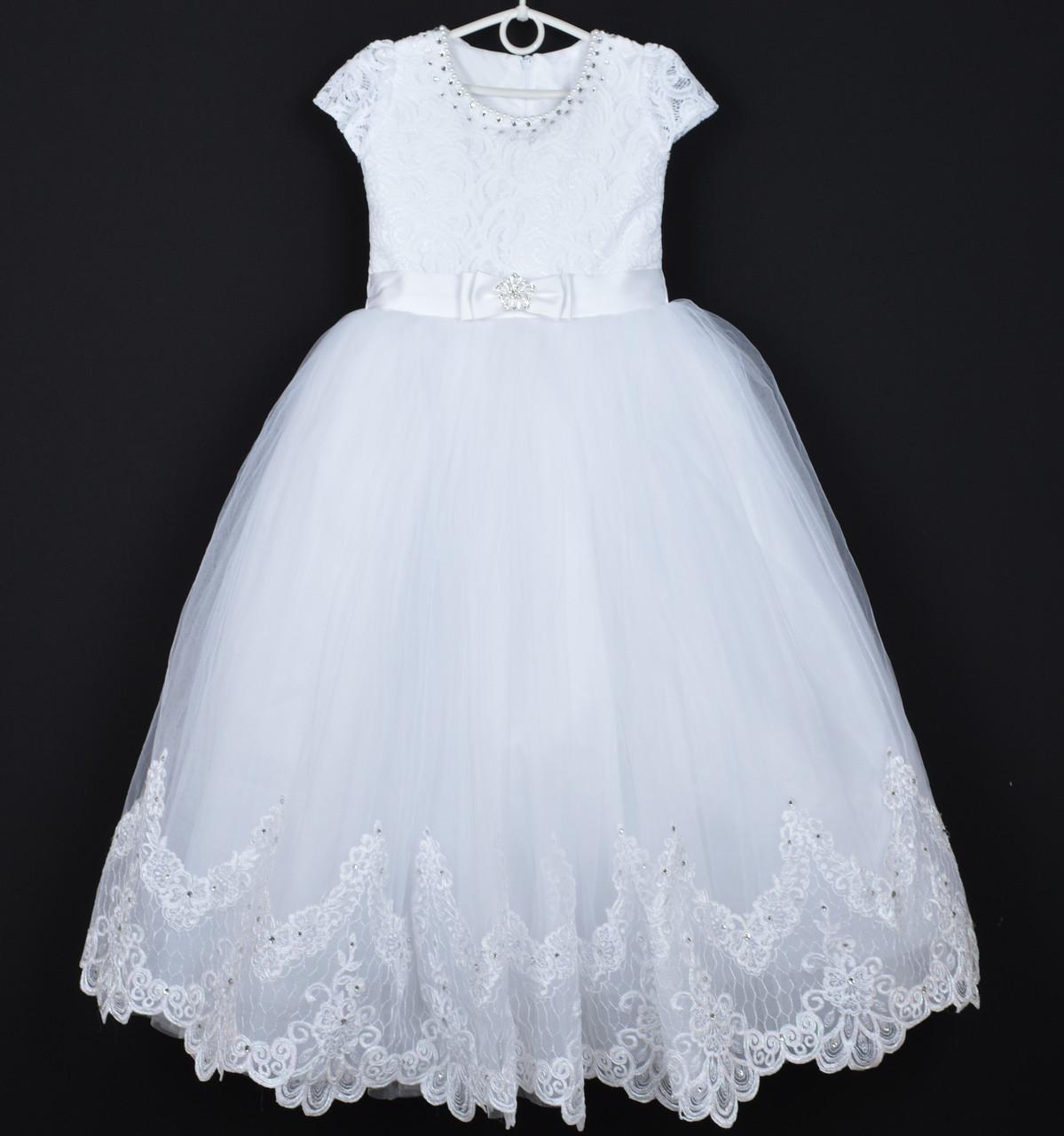 """Платье нарядное детское """"Ева"""". 9-10 лет. Белое. Оптом и в розницу"""