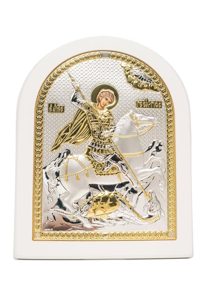 Георгий Победоносец Икона Серебряная с позолотой в белом цвете AGIO SILVER (Греция)  175 х 225 мм