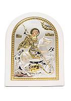 Георгий Победоносец Икона Серебряная с позолотой в белом цвете AGIO SILVER (Греция)  175 х 225 мм, фото 1