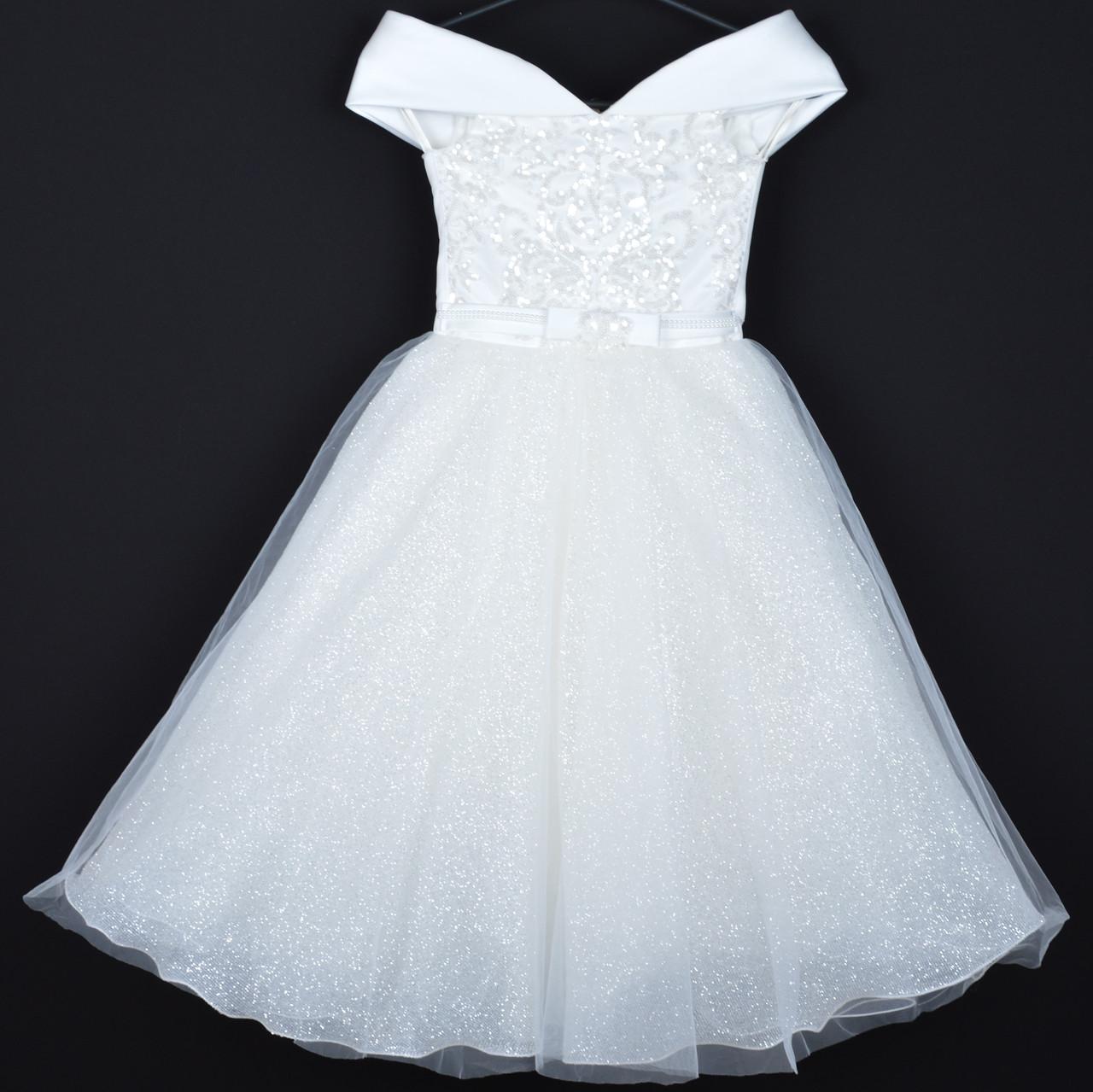 """Платье нарядное детское """"Антонина"""" с блестками. 6-8 лет. Молочное. Оптом и в розницу"""