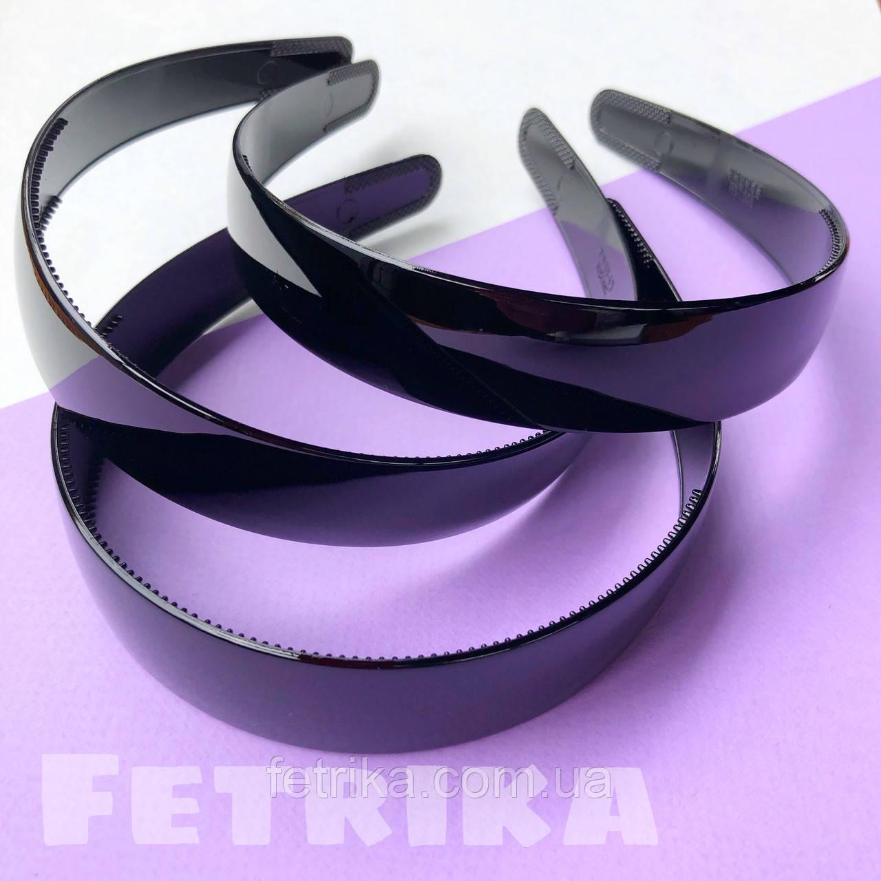 Обруч для волос пластмассовый ЧЕРНЫЙ, широкий, глянцевый, 25 мм