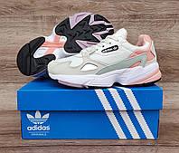 Подростковые, детские кроссовки Adidas Falcon W (WHITE TINT / RAW WHITE / TRACE PINK) EE4149