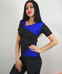 Эластичная футболка для спорта с синими вставками 42-48 р