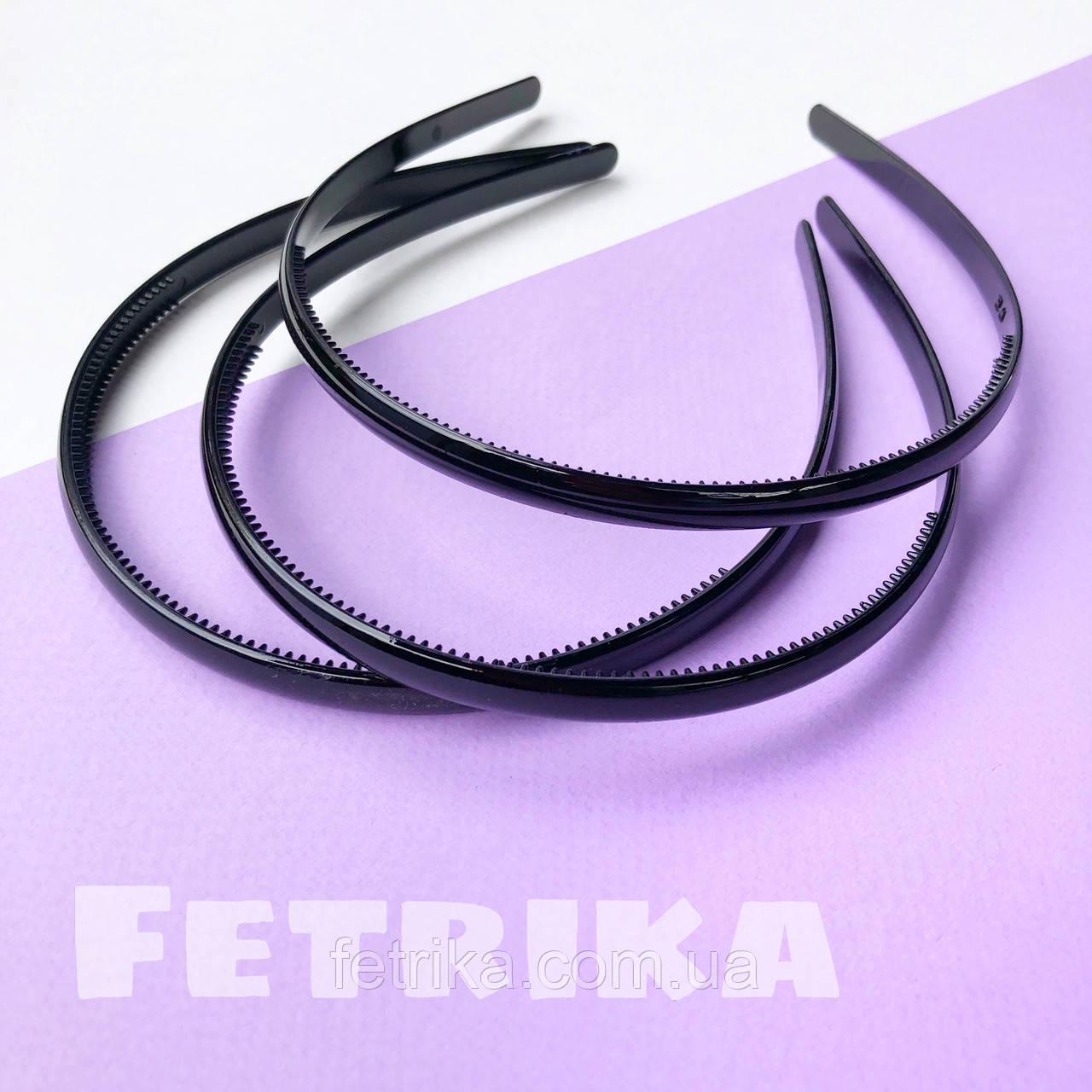 Обруч для волос пластмассовый ЧЕРНЫЙ, глянцевый, 8 мм