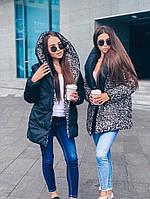 Двухсторонний зимний пуховик с капюшоном . Леопардовый принт + черный. Размер универсальный 42-48