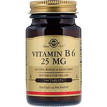 """Вітамін В6, SOLGAR """"Vitamin B-6"""" 25 мг (100 таблеток)"""