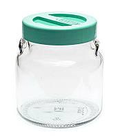 Банка стеклянная Everglass 550 мл.для хранения с салатовой пластиковой крышкой