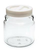 Банка стеклянная Everglass 550 мл. для хранения  с белой перламутровой пластиковой крышкой (перламутр)