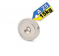 Магнит в корпусе с зенковкой под саморез (потай) A25, 15кг ✰ПОЛЬША•N42•ГАРАНТИЯ 30лет✰