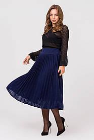 Теплая юбка размер 44-48 плиссе юбка гофре шерсть вязаная