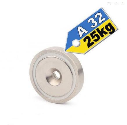 Магнит в корпусе с зенковкой под саморез (потай) A32, 25кг ✰ПОЛЬША•N42•ГАРАНТИЯ 30лет✰