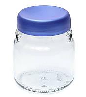 Банка стеклянная Everglass 550 мл. для хранения с синей перламутровой пластиковой крышкой (Велюр)