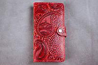 Кожаный кошелёк вестерн XL, Восточный узор, красный., фото 1