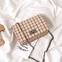 """Женский клатч/мини сумочка на плечо, стильная  """"Simple&Chic"""" текстильная, принт в клетку (бежевый), фото 1"""