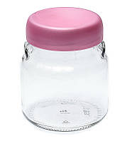 Банка стеклянная Everglass 550 мл. для хранения с розовой пластиковой крышкой (Велюр)