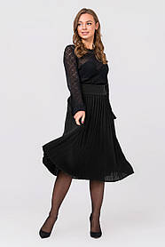 Черная Теплая юбка размер 44-48 плиссе юбка гофре шерсть вязаная