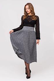 Серая Теплая юбка размер 44-48 плиссе юбка гофре шерсть вязаная