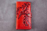 Кожаный кошелек вестерн XL, Ласточки в  цветах вишни, красный., фото 1
