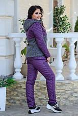 Женский теплый костюм кашемир + плащевка 48-54 рр. Батал, фото 3