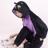 Пижама Кигуруми Кошка черная микрофибра (велсофт)
