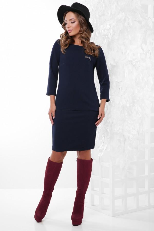 Костюм (блуза и юбка)  темно-синий