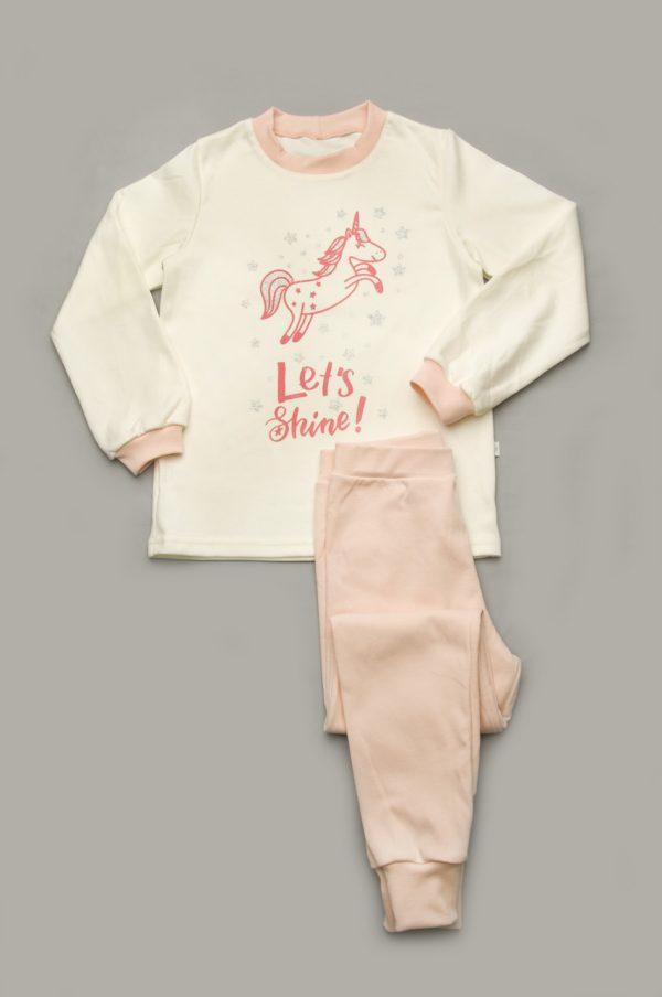 Пижама для девочек из нежного интерлока (100% хлопок) 4 -7 лет