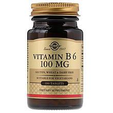 """Вітамін В6, SOLGAR """"Vitamin B-6"""" 100 мг (100 таблеток)"""