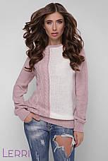 Повсякденний жіночий светр великої в'язки теплий колір лід-бірюза, фото 3