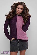 Повседневный женский свитер крупной вязки теплый цвет лед-бирюза, фото 2