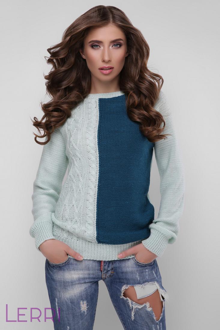 Повседневный женский свитер крупной вязки теплый цвет лед-бирюза