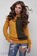 Повседневный женский свитер крупной вязки теплый цвет лед-бирюза, фото 3