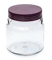 Банка стеклянная Everglass 550 мл. для хранения с пластиковой крышкой цвет баклажан (Италия)