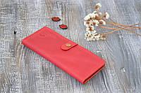 Женский кошелек из натуральной кожи с монетницей на молнии красного цвета