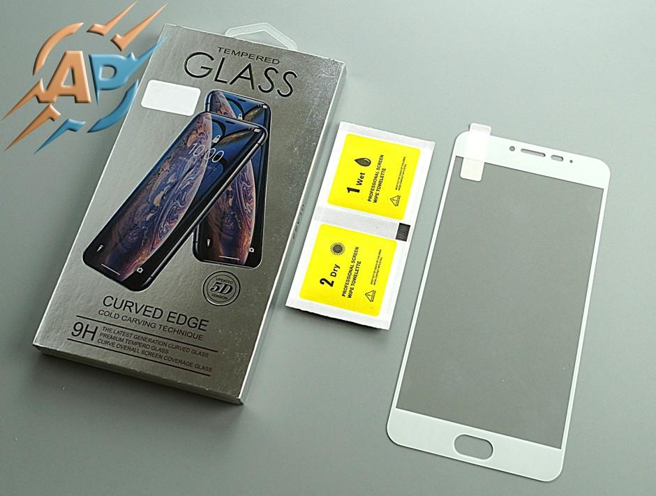 Защитное стекло 5D для Meizu M3 note белое