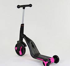 Самокат Best scooter розовый S868 3 в 1 с подсветкой и музыкой, фото 3