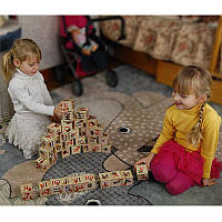 Детские деревянные кубики с Украинским алфавитом и цифрами 35 шт. в подарочной коробке с крышкой