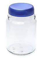 Банка стеклянная Everglass 900 мл для хранения с синей перламутровой пластиковой крышкой (велюр)