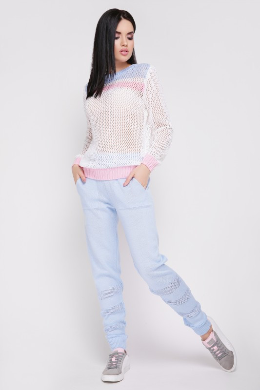 """Вязаный костюм """"TISSU"""" Голубой/Розовый"""
