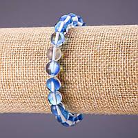 Браслет Опаловое стекло синее d-8мм L-18см на резинке