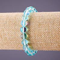 Браслет Опаловое стекло голубое d-8мм L-18см на резинке