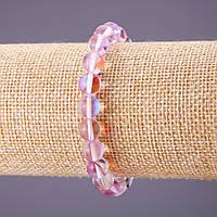 Браслет Опаловое стекло розовое d-8мм L-18см на резинке