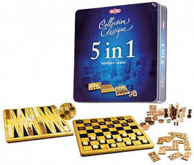 Tactic 14006 Набор игр 5 в 1 шахматы, шашки, нарды, домино, крестик нолики.